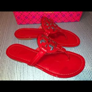 Tory Burch Miller Sandals Patent Leather Red 9 US